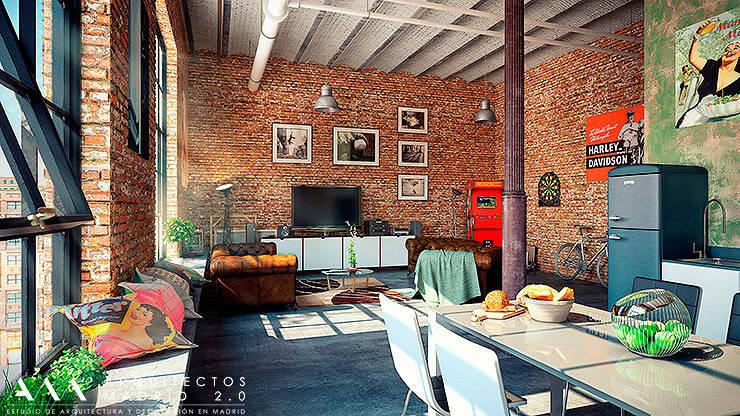 Proyecto y Reforma de Loft en Madrid: Estudios y despachos de estilo  de Arquitectos Madrid 2.0