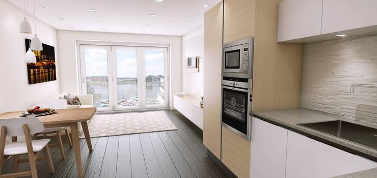 3D visuals for Kitchen designer HUB KITCHENS:  Kitchen by Outsourcing Interior Design