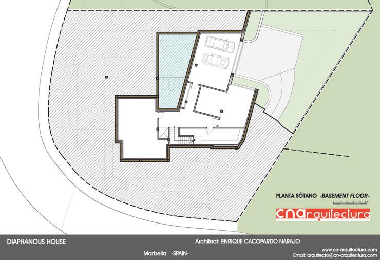 Diaphanous House -Planta Sótano-: Casas de estilo  de CN ARQUITECTURA