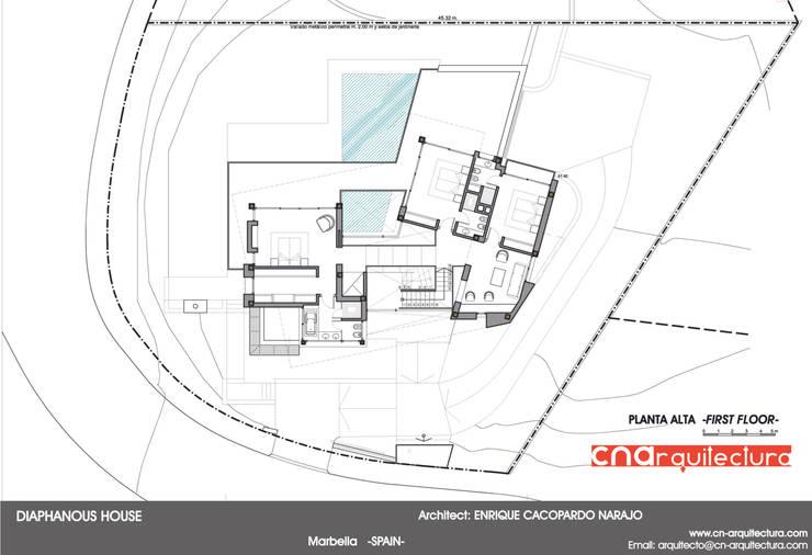 Diaphaouse House -Planta Alta-:  de estilo  de CN ARQUITECTURA