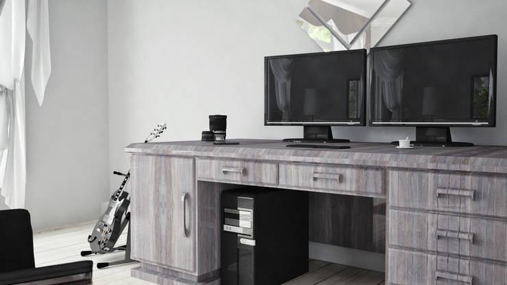 View_03_Closer to the Desk: Camera da letto in stile  di V Multimedia