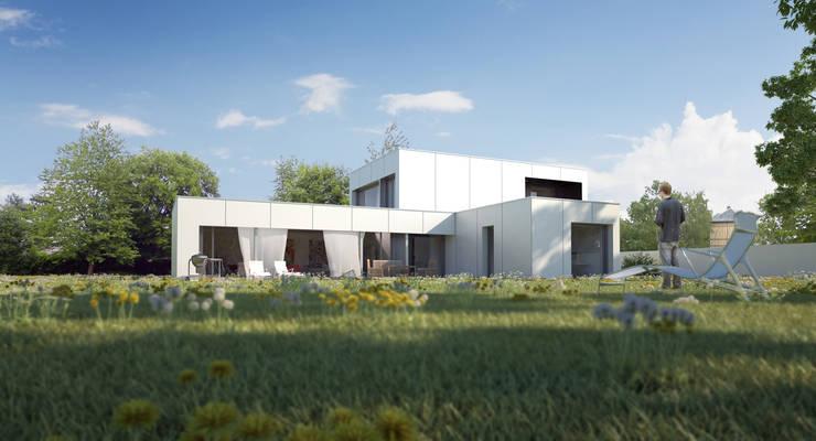 maison noire et blanche: Maisons de style  par ad architecture