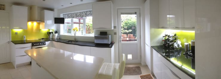 White Gloss Kitchen with Yellow Glass Splashback:  Kitchen by Henley McKay Kitchens
