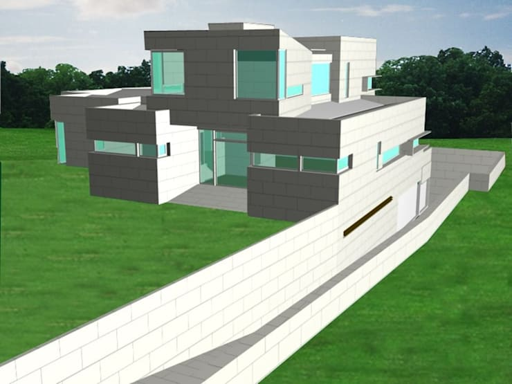 casa moderna en Boadilla sostenible: Hogar de estilo  de Miguel Angel Blanco Callejpo Arquitecto