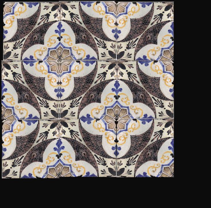 Decoro '700 -rosone manganese: Pareti & Pavimenti in stile  di  Ceramiche Militello