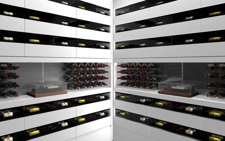 Projet 3D – Cave à vin en Corian Blanc Iceberg: Cave à vin de style  par Degré 12