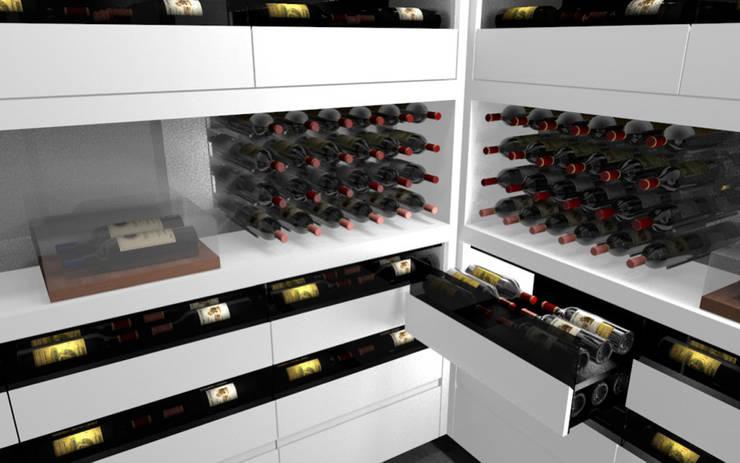 Projet 3D - Cave à vin en Corian Blanc Iceberg: Cave à vin de style  par Degré 12