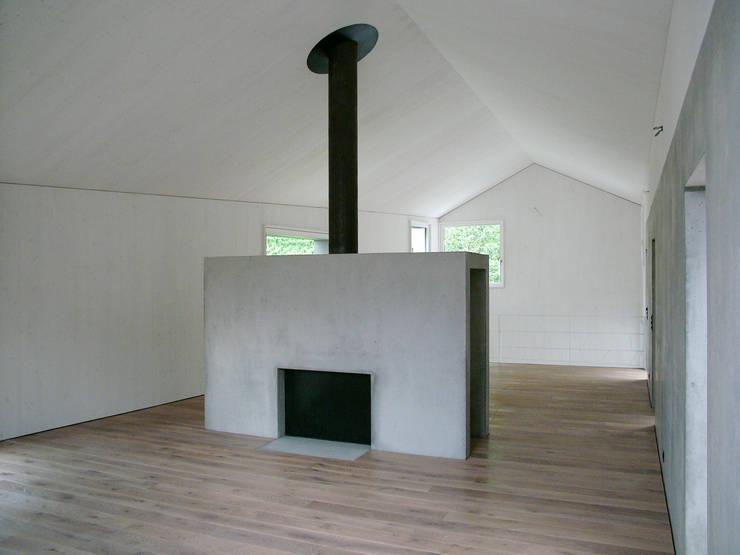 Offener Wohnraum mit Kamin:  Wohnzimmer von atelier-f ag