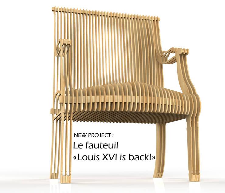 LE FAUTEUIL LOUIS XVI IS BACK!: Salon de style  par THOMAS DE LUSSAC DESIGN LAB