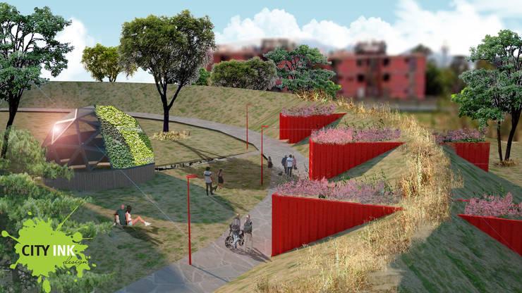 Andador y zona de acopio y domo: Jardines de estilo  por City Ink Design