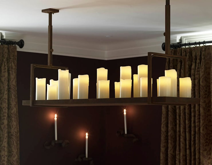 Bespoke central light with 'candles': modern Dining room by Concept Interior Design & Decoration Ltd