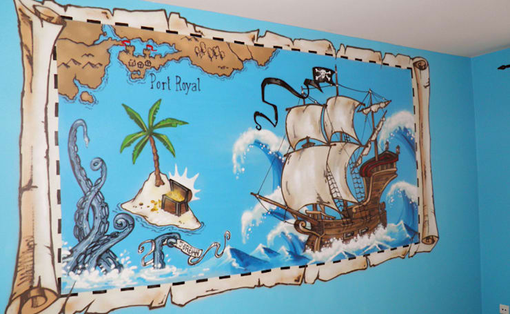 Décoration chambre d'enfant thème pirate: Chambre d'enfants de style  par Popek décoration