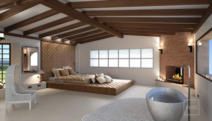 Perspectiva 3D - Diseño de interior: Dormitorios de estilo  de Realistic-design