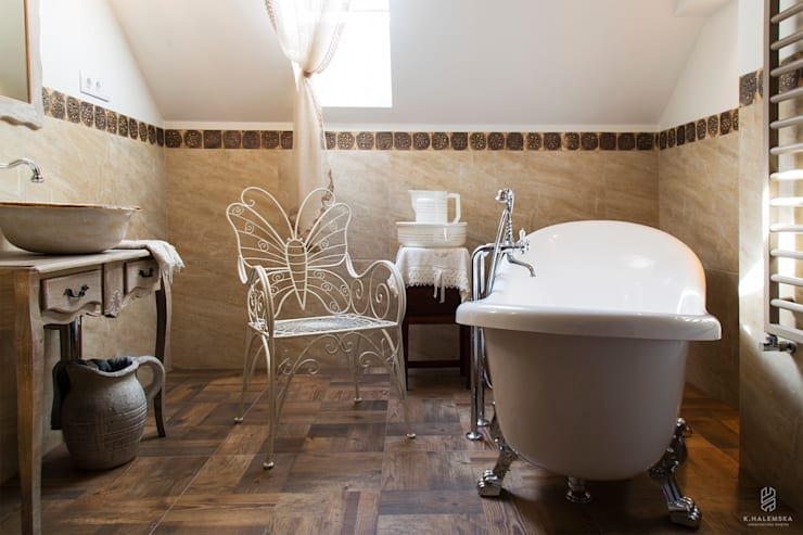 Projekt 48 _  łazienka na piętrze: styl , w kategorii Łazienka zaprojektowany przez k.halemska