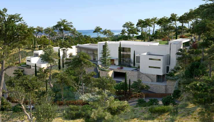 Proyecto 3D - Paisajismo : Jardines de estilo  de Realistic-design