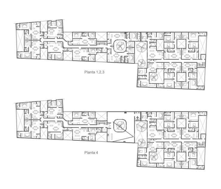 Plantas de niveles 1-4: Casas de estilo moderno por RECON Arquitectura