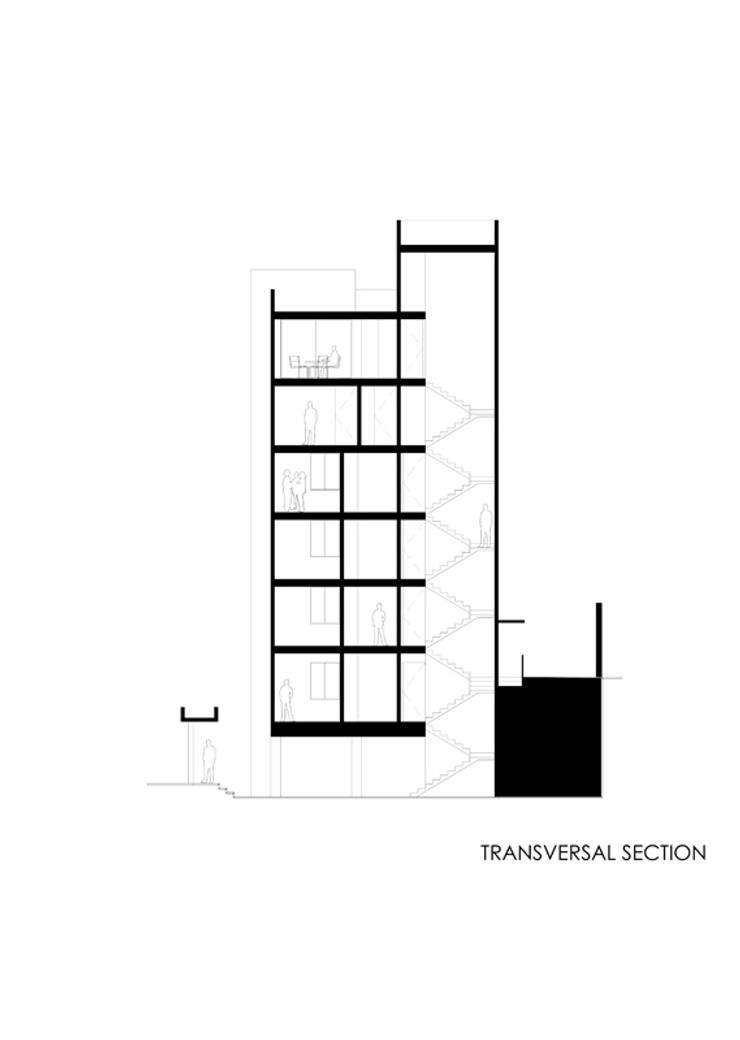 Corte transversal Casas modernas de RECON Arquitectura Moderno