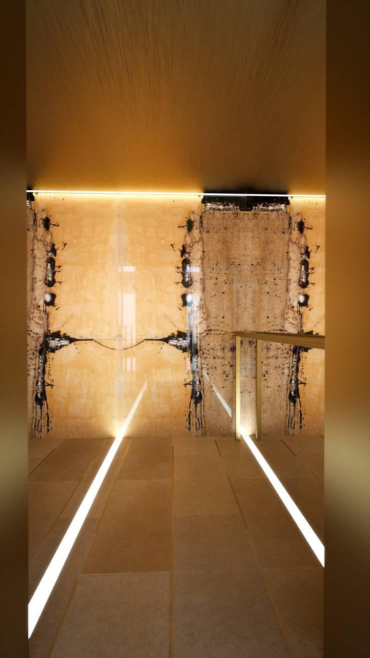 Proyecto 3D - edificio de viviendas: Pasillos y vestíbulos de estilo  de Realistic-design