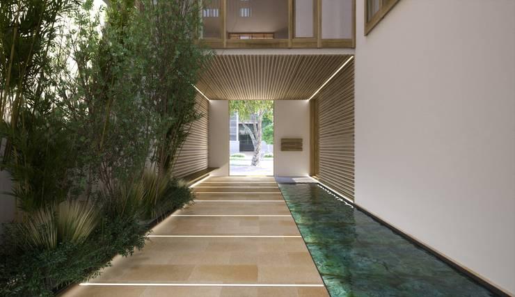 Proyecto 3D - edificio de viviendas : Pasillos y vestíbulos de estilo  de Realistic-design