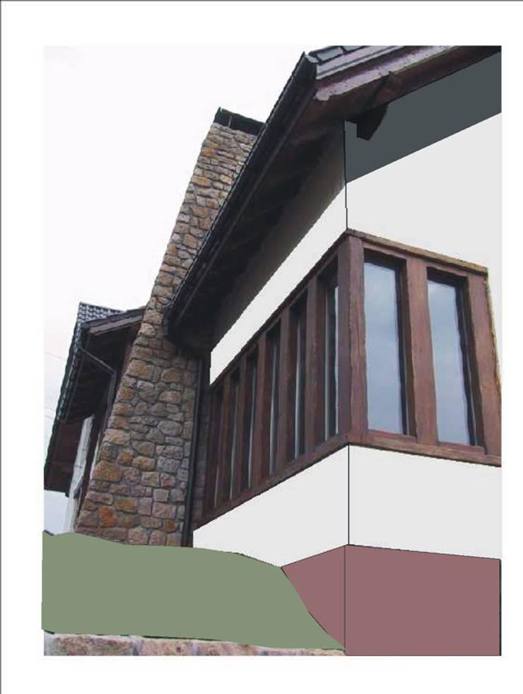 Detal elewacji w trakcie budowy: styl , w kategorii  zaprojektowany przez Heliolux Design,