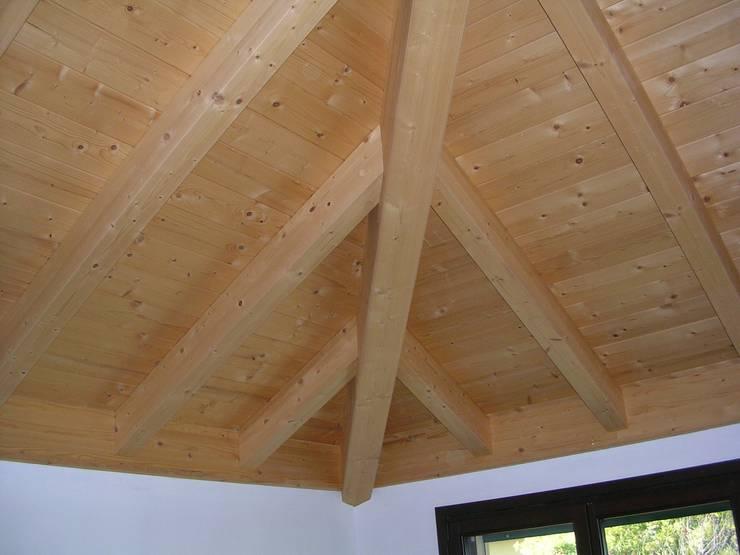 Abitazione bifamiliare con struttura in legno (classe energetica A+): Pareti in stile  di Arch. Dario Nespoli
