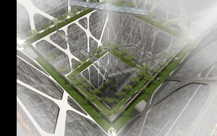 Zocalo : Centros Comerciales de estilo  por BNKR Arquitectura