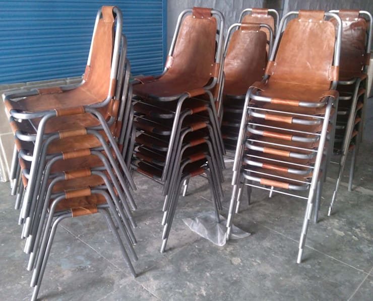 Leather Chair: industrial Dining room by Vinayak Art Inc.