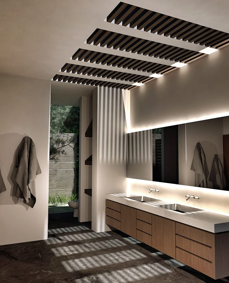 Casa Lomas Hipódromo: Baños de estilo  por REM Arquitectos