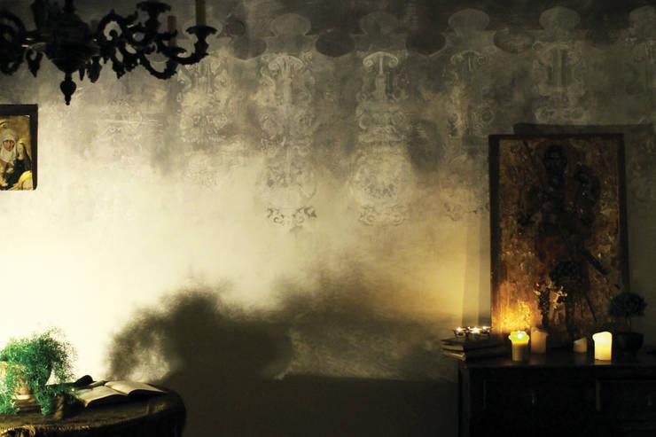 salon szary: styl , w kategorii Ściany zaprojektowany przez szaro-biało,Eklektyczny