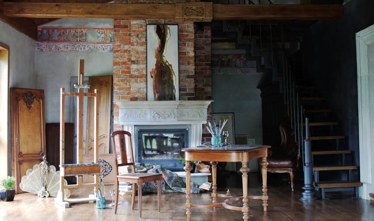 pracownia, salon: styl , w kategorii Ściany zaprojektowany przez szaro-biało,Eklektyczny