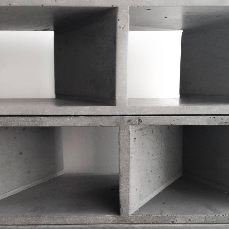 Librero Sean: Estudios y oficinas de estilo  por MDC MUEBLES DE CONCRETO