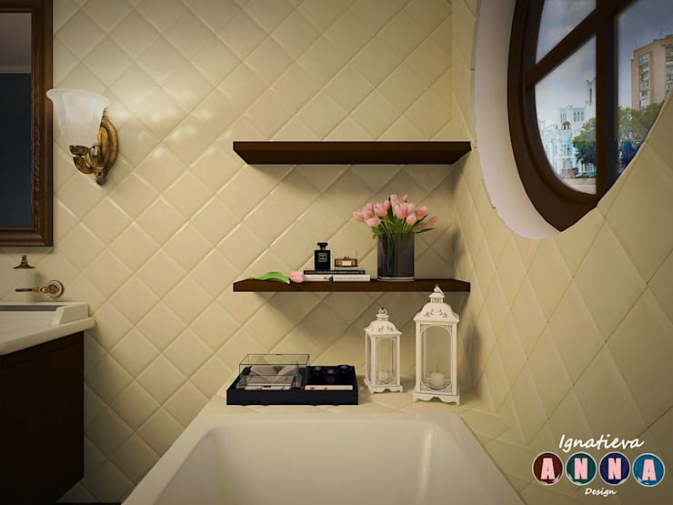 colonial Bathroom by Дизайн-студия Анны Игнатьевой