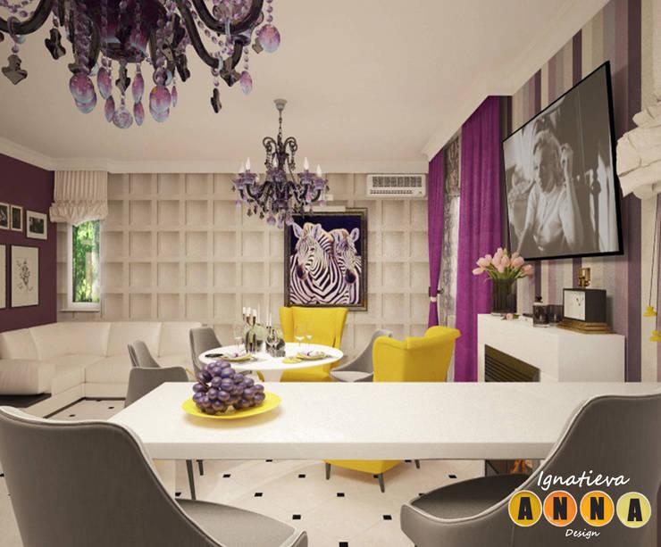 Загородный шик: Гостиная в . Автор – Дизайн-студия Анны Игнатьевой, Модерн