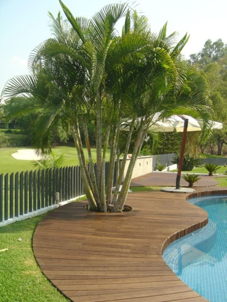 Casa en Club de Golf Santa Fe (Morelos): Paredes y pisos de estilo  por Shimada Flooring