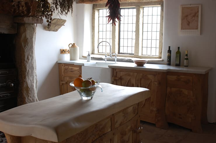 Sculptural Organic Handmade  Bespoke kitchen Furniture:  Kitchen by Carved Wood Design Bespoke Kitchens.