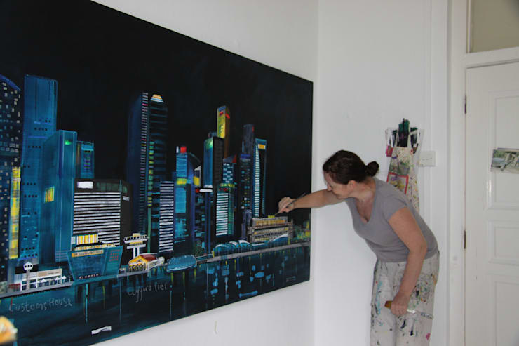 Singapore Skyline:  Artwork by Clare Haxby Art Studio