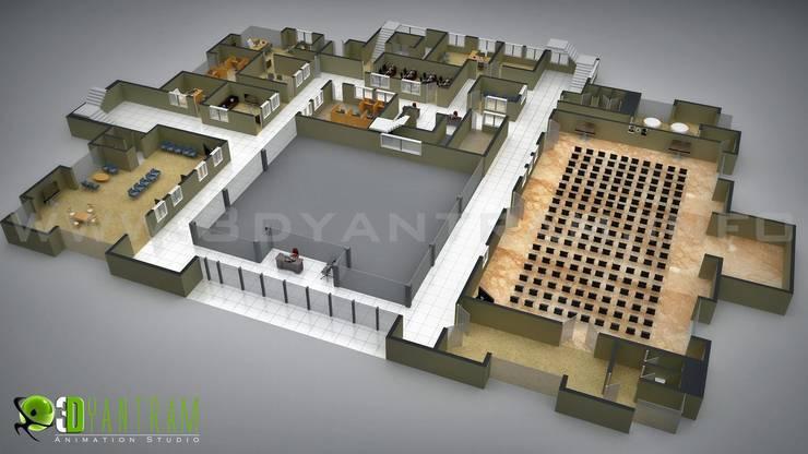 Commerciale 3D del pavimento piano di studio di design: Arte in stile  di 3D Yantram studio di animazione,