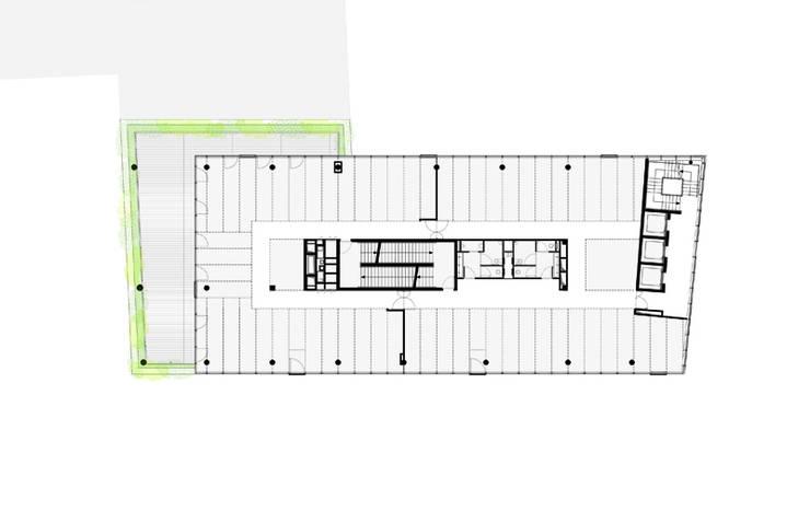 Bureaux M5B3 à Paris XIII: Bureaux de style  par ECDM Architectes