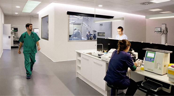 DETALLES DE MESA DE LABORATORIO: Oficinas y Tiendas de estilo  de Sheila Cuello design