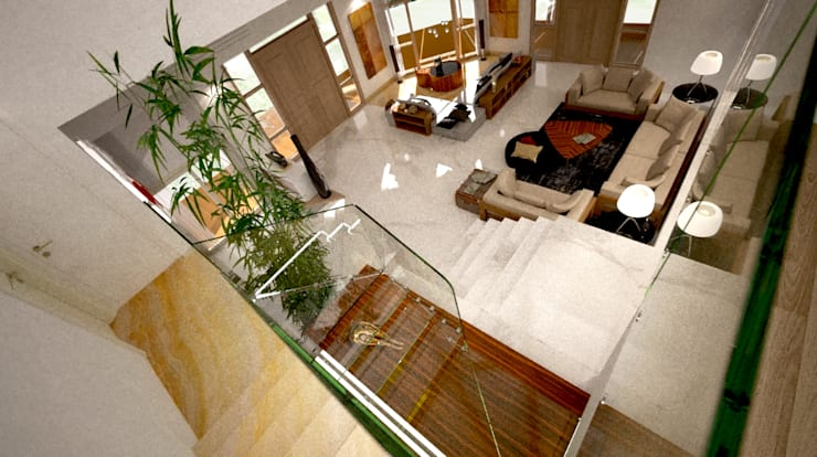 Villa Joà_Living ed accesso alla suite del mezzanino:  in stile  di Emanuele Pillon Architetto