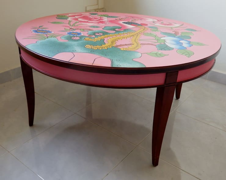 Peranakan plate coffee table:   by Art From Junk Pte Ltd