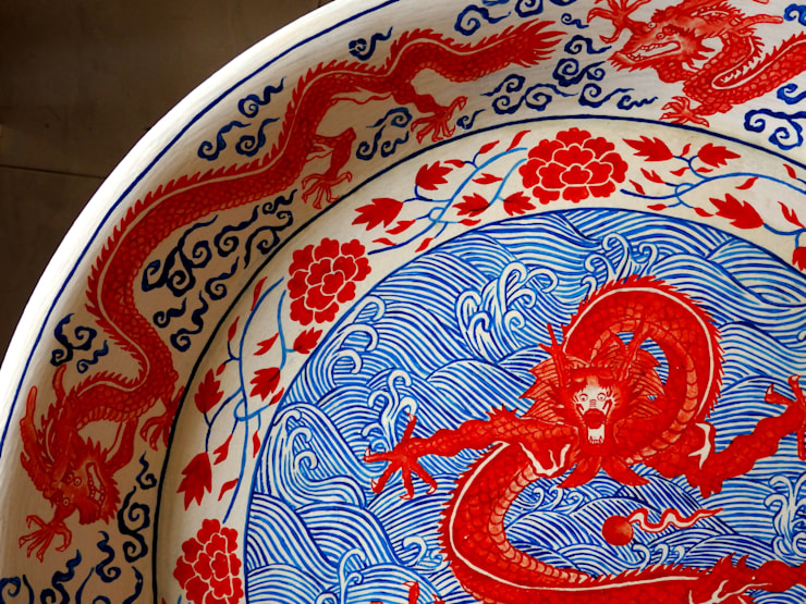 Dragon dish table:   by Art From Junk Pte Ltd