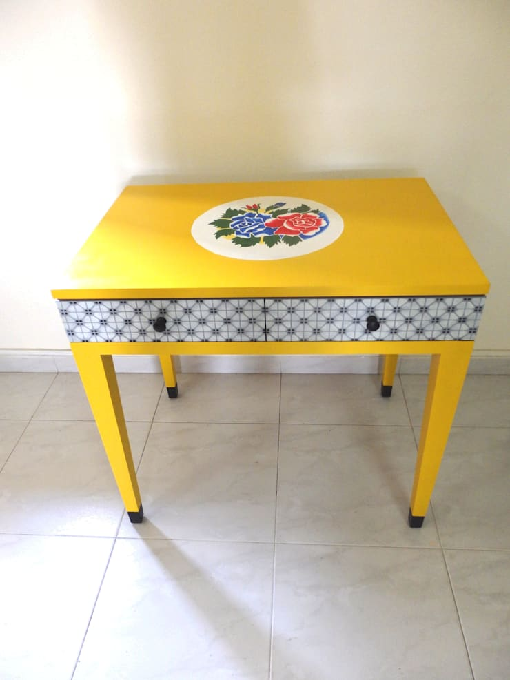 Yellow floral mosaic table:   by Art From Junk Pte Ltd