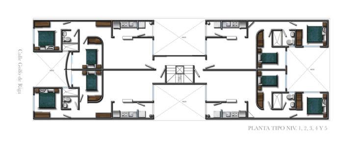 Planta tipo : Casas de estilo  por RECON Arquitectura