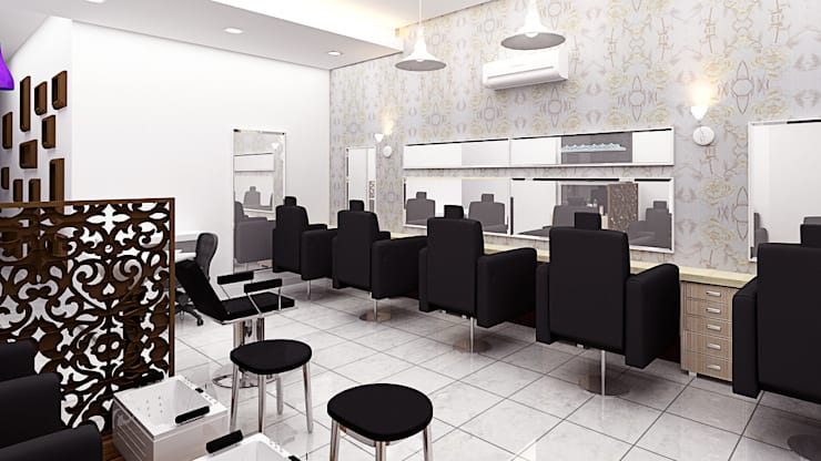 Gorgeous Salon:   by Decons Architecture and Interior