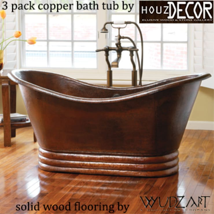 HOUZDECOR—ELUSIVE COPPER BATH TUB: rustic Bathroom by HOUZDECOR