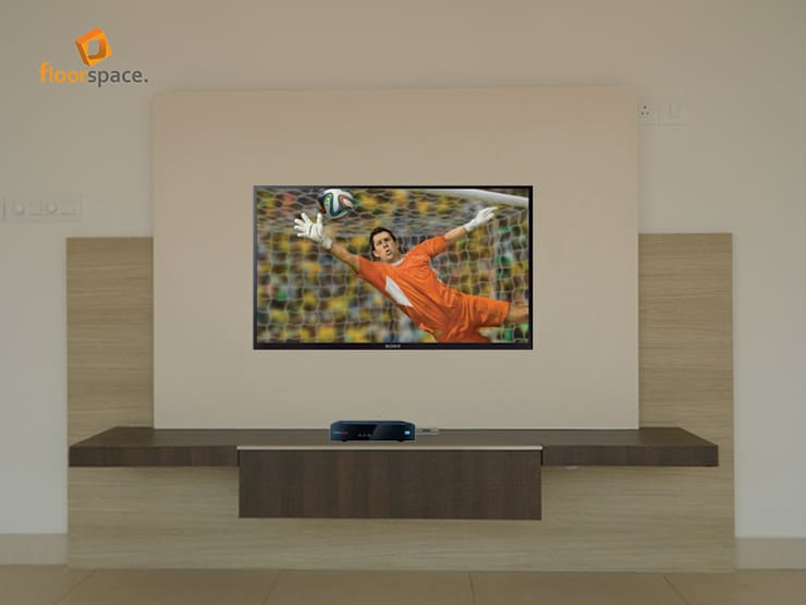 Project Tranquility - Family Room TV Unit:  Living room by Floorspace