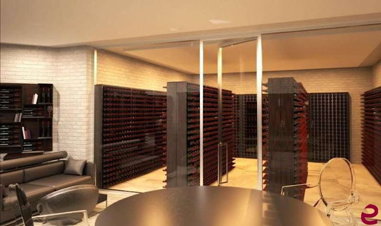 Stanza del vino climatizzata Esigo con portabottiglie Esigo 2 Wall: Cantina in stile  di Esigo SRL