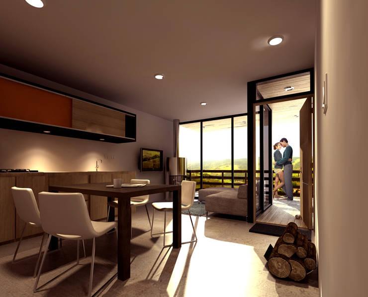 CREEL: HOTEL ECOTURISMO: Salas de estilo  por FACTOR: RECURSO