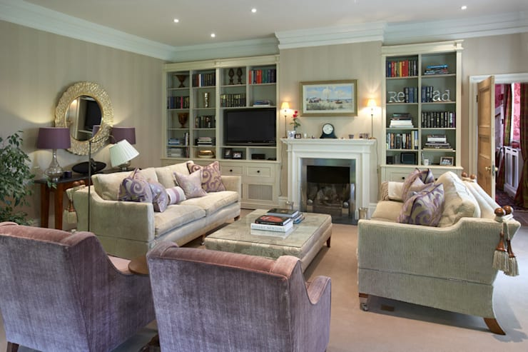Sitting Room in pastel shades:  Living room by Barkers Interiors